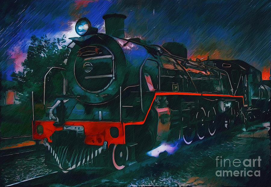 Railroad Painting -  Train by Andrzej Szczerski