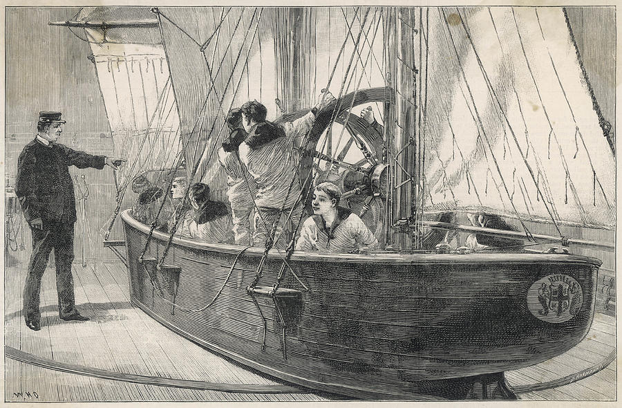 Naval Drawing -  Training Naval Cadets On A  Swinging by  Illustrated London News Ltd/Mar