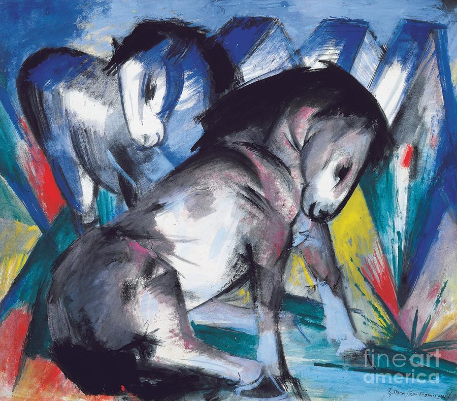 Blaue Reiter; Expressionist; German Expressionist; Two; 2; Horse; Horses; Animal; Animals; Futurist; Blue; Abstract; Dynamic; Bold; Colourful; Stylised; Angular; Farm Animal; Farm Animals Painting -  Two Horses by Franz Marc