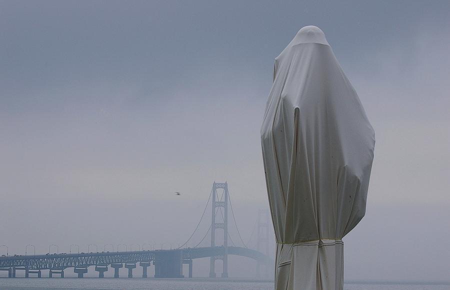 Mackinac Bridge Photograph -  Veil Monument by Randy Pollard