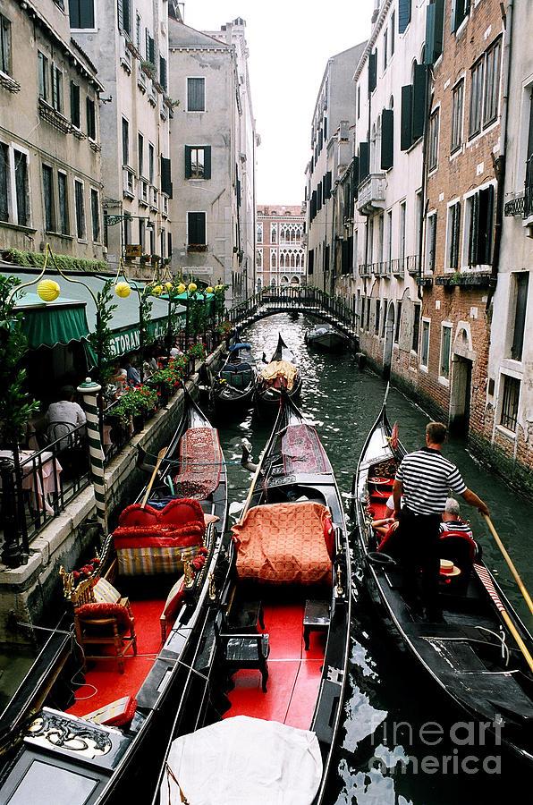 Gondolier Photograph -  Venice Canal by Sandy MacNeil