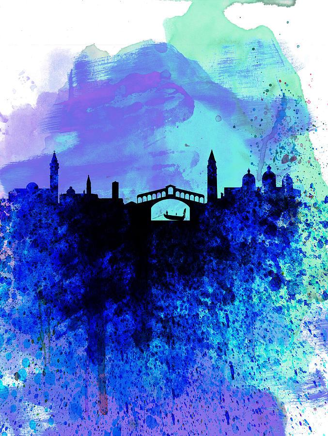 Venice Painting -  Venice Watercolor Skyline by Naxart Studio