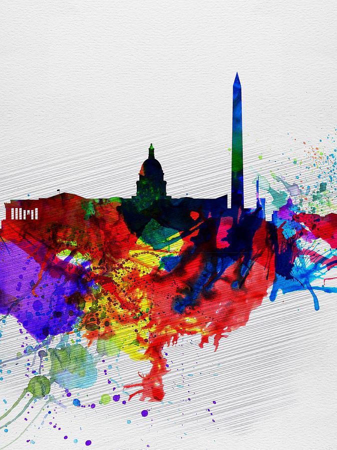 Washington Dc Painting -  Washington DC Watercolor Skyline 1 by Naxart Studio