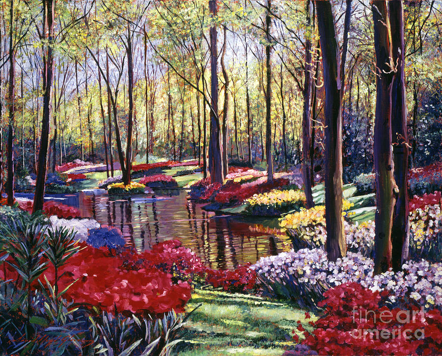 Gardens Painting -  Water Romance by David Lloyd Glover
