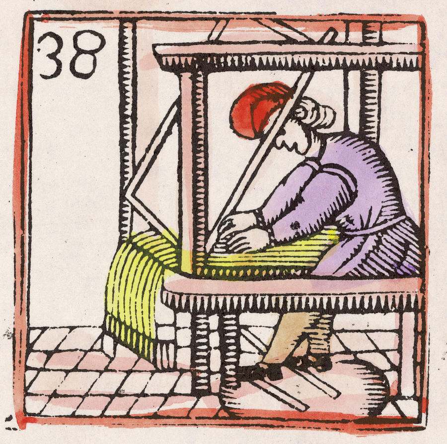 C17 Drawing -  Weaving On A Loom         Date 17th by Mary Evans Picture Library