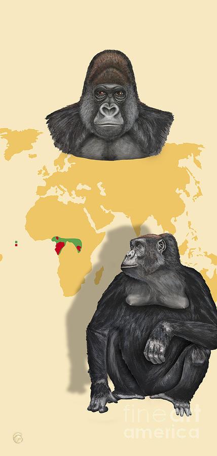 Western Lowland Gorilla - Gorilla Gorilla Gorilla - Shrinking Habitat - Zoo Interpretation Panels Painting