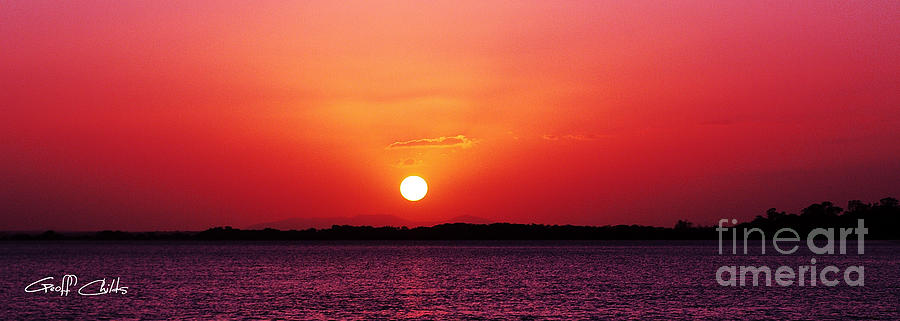 Sunset Photograph -  White Sun And Crimson Glow - Sunset Xmas Day. by Geoff Childs