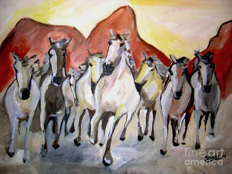 Animals Painting -  Wild Mustangs by Sidney Holmes