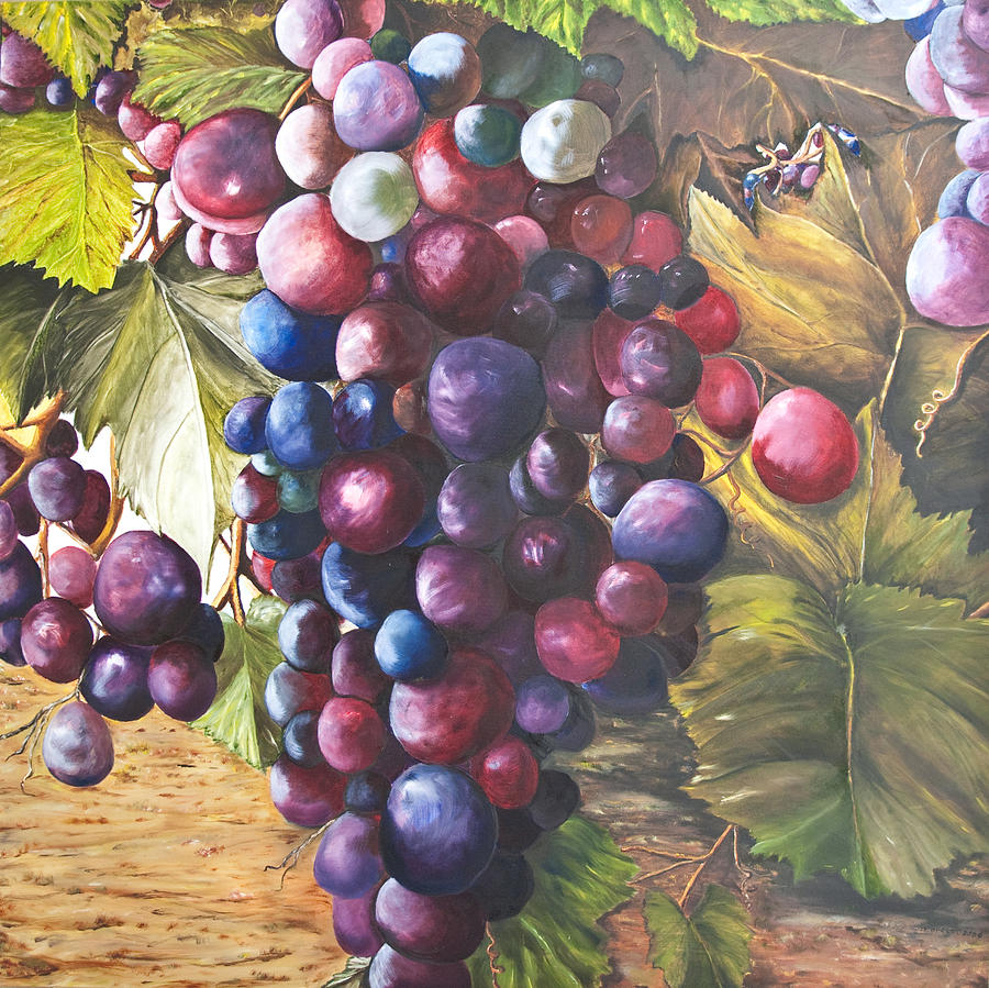 Wine Grapes On A Vine Painting by Chuck Gebhardt
