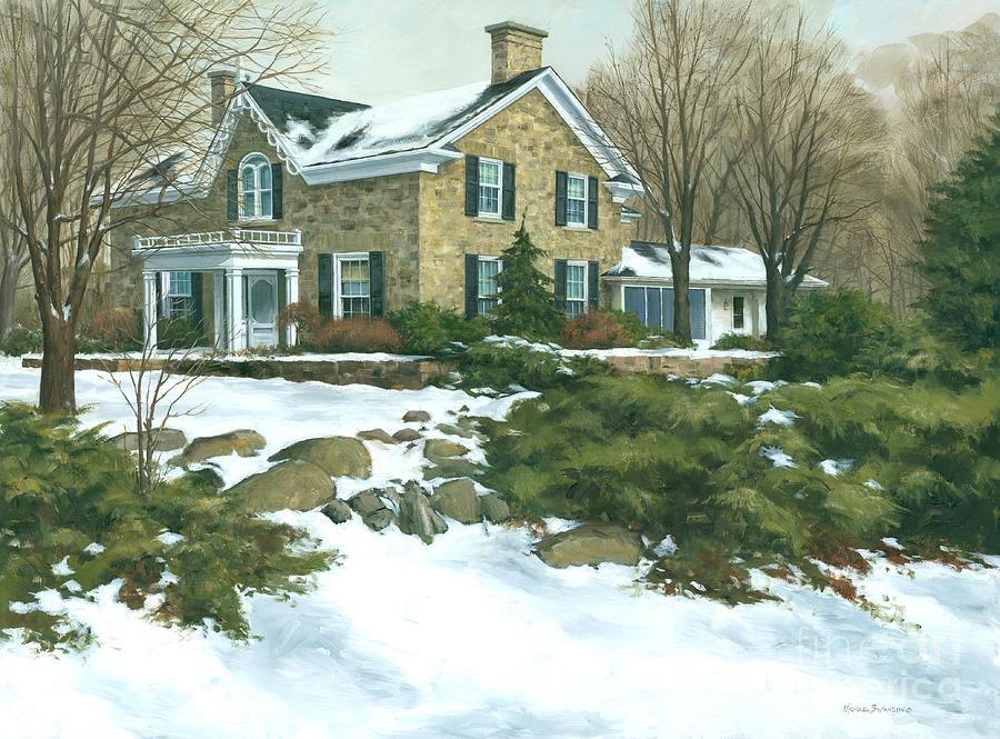 Winter Farm Painting -  Winters Retreat   by Michael Swanson