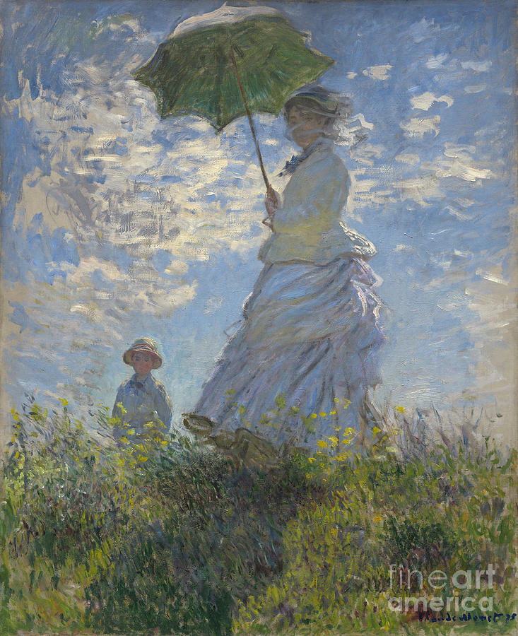 French Painting -  Woman With A Parasol Madame Monet And Her Son by Claude Monet