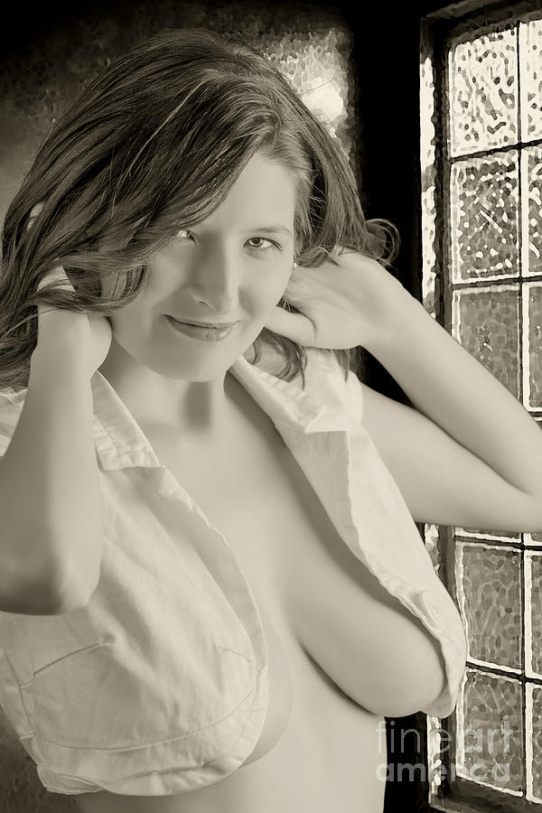 naked girl in open window