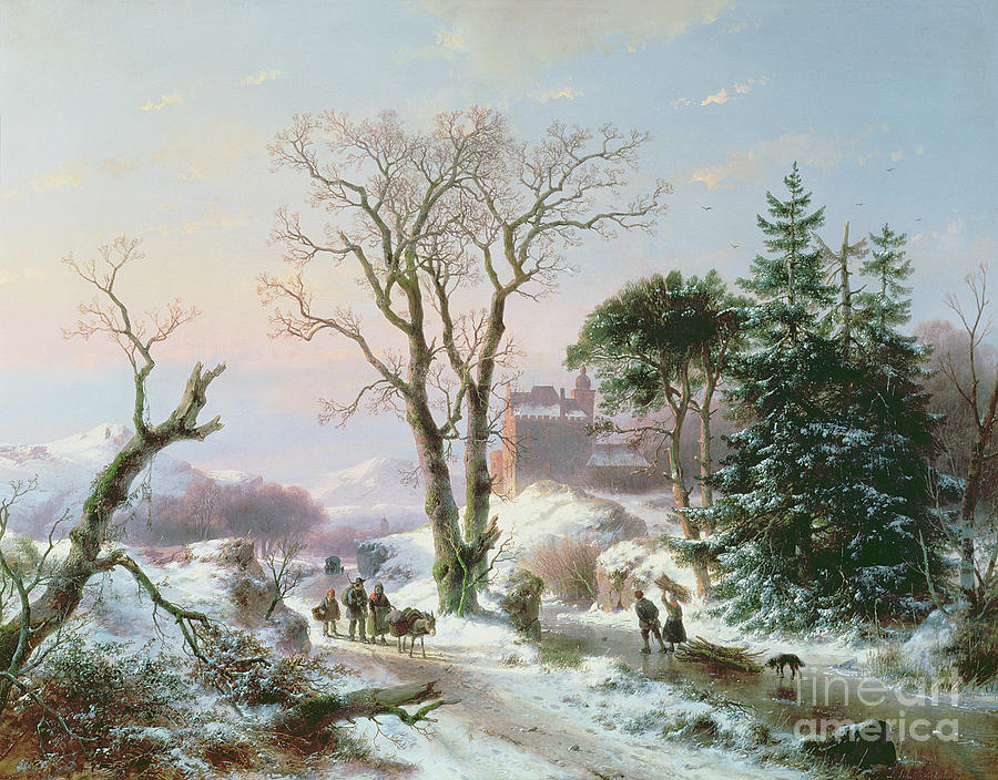 Winter Painting -  Wooded Winter River Landscape by  Andreas Schelfhout