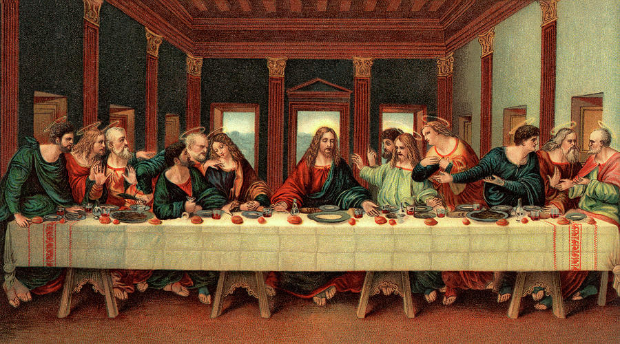Horizontal Painting - 0030s The Last Supper After Leonardo Da by Vintage Images