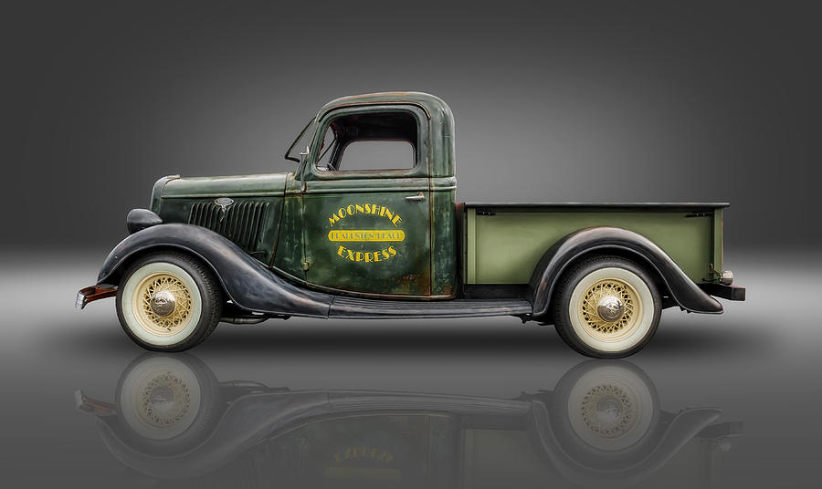 Hot Rods Photograph - 1935 Ford Pickup - Moonshine Express by Frank J Benz