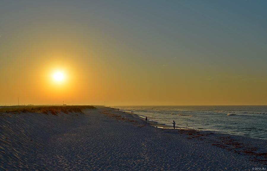 Sunrise Photograph - 0501 Navarre Beach Sunrise Over Fishermen by Jeff at JSJ Photography