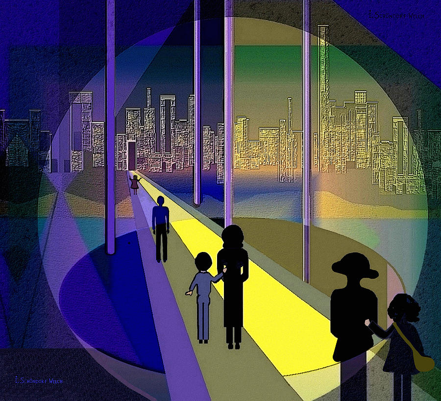 Night Painting - 070 - Nightwalking To The Golden City    by Irmgard Schoendorf Welch