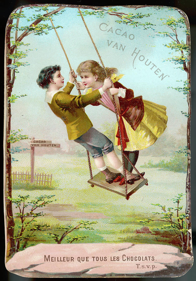 Boy Drawing -  A Boy And A Girl Swing  Together by Mary Evans Picture Library