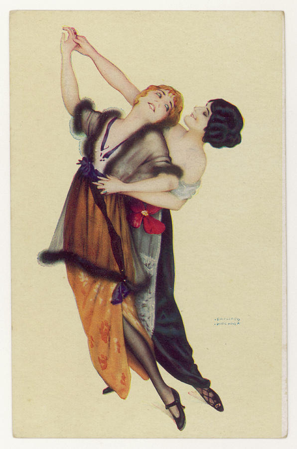 Tango Drawing -  Two Stylishly Dressed Ladies  Dance by Mary Evans Picture Library