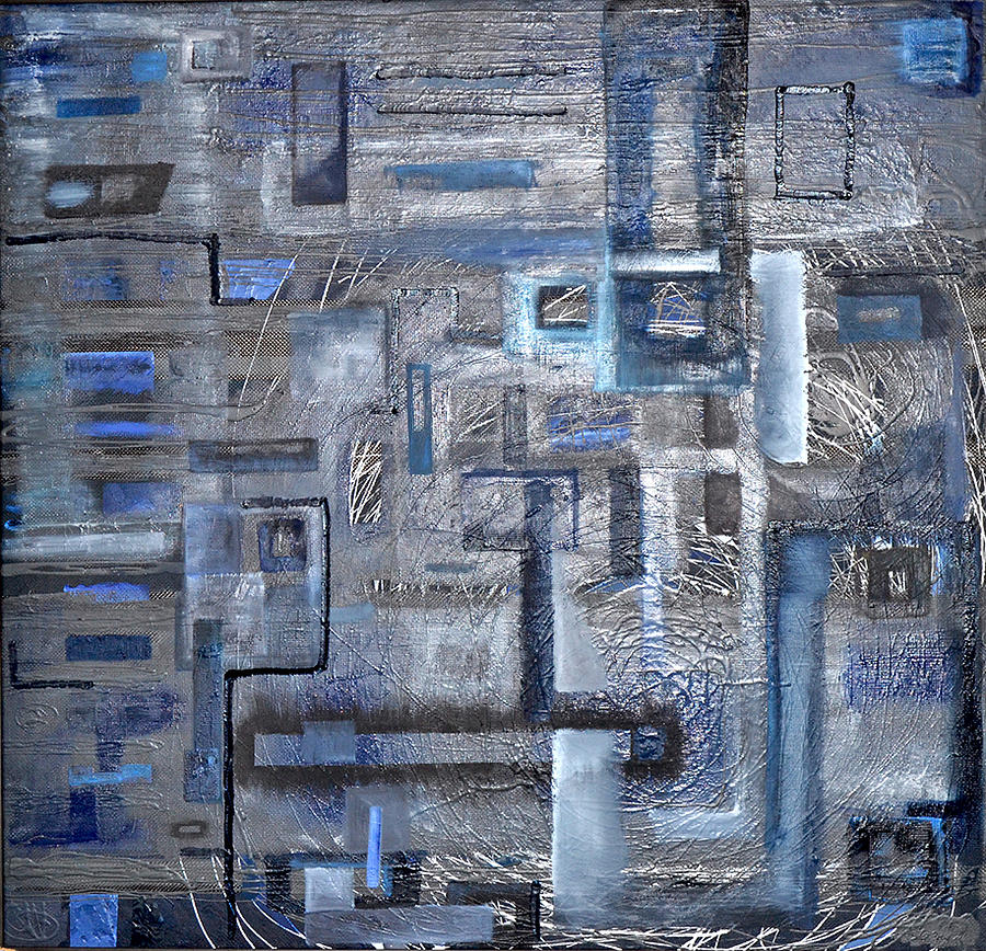 Abstract Painting -  9 11 The Blue Agony by Radovan Lengyel
