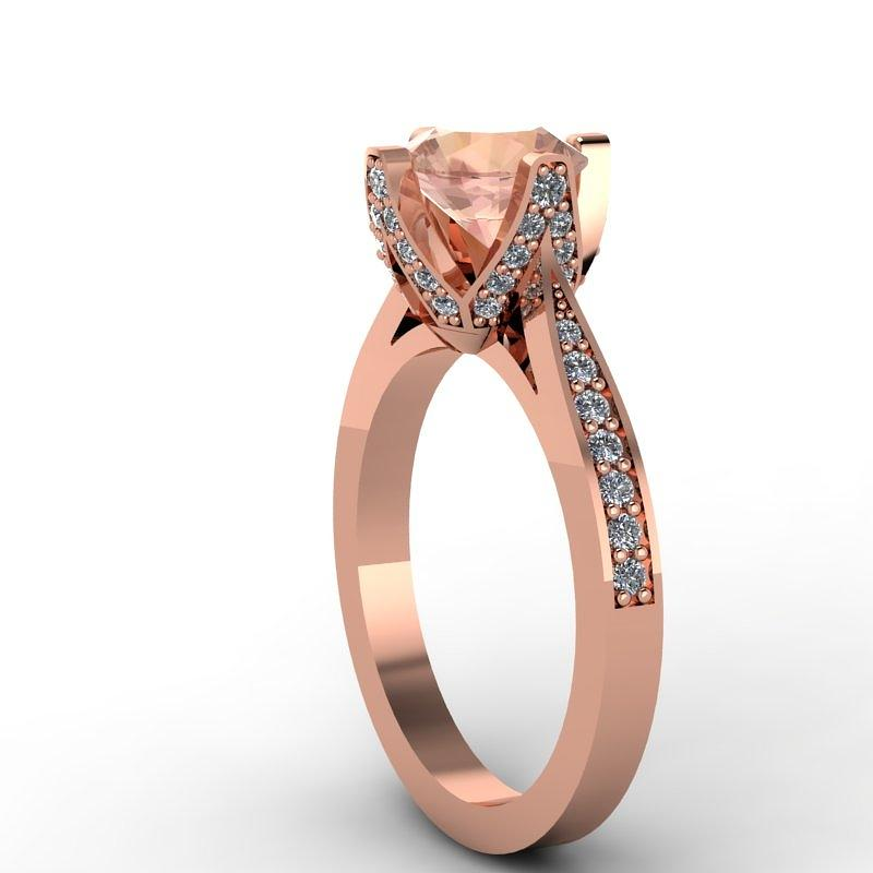 Yellow Gold Jewelry - 14k Rose Gold Diamond Ring With Morganite Center Stone by Eternity Collection