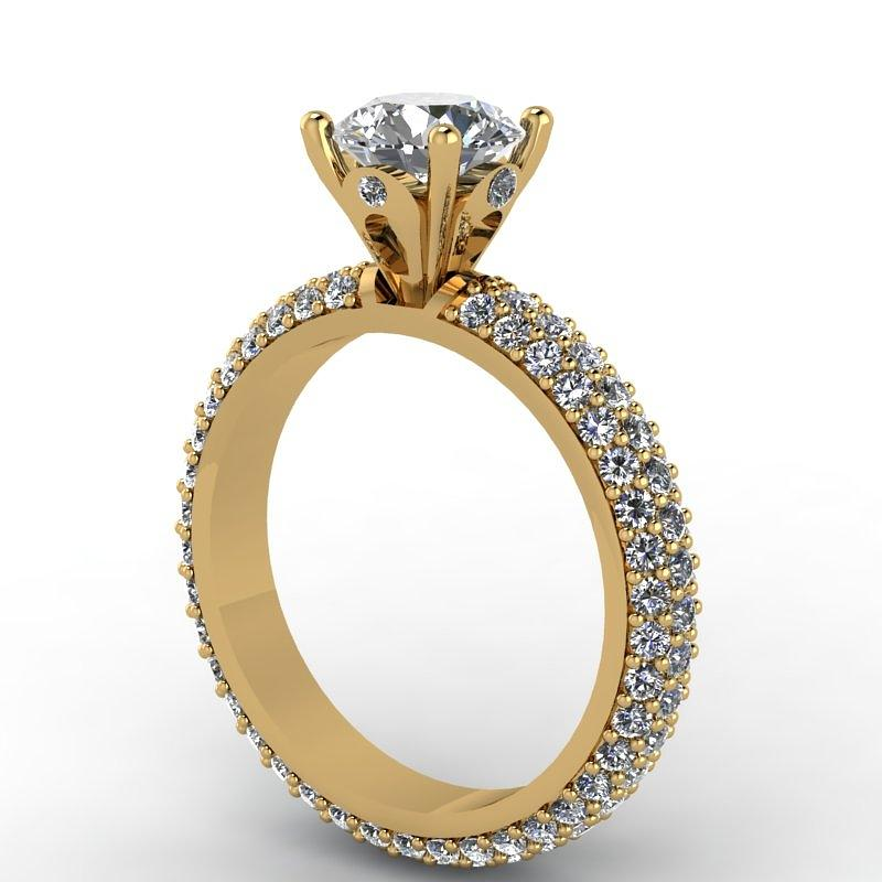 14k yellow gold ring with moissanite center