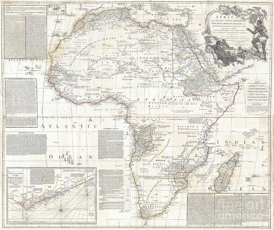 Kingdoms Photograph - 1794 Boulton And Anville Wall Map Of Africa by Paul Fearn