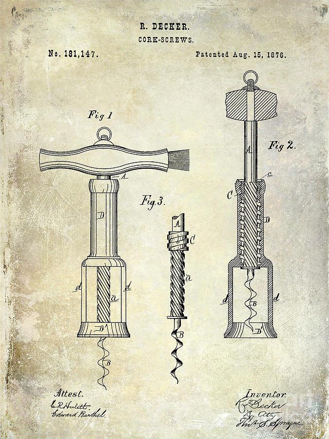Patent Drawing Photograph - 1876 Corkscrew Patent Drawing by Jon Neidert