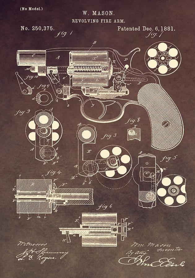 Chamber Digital Art - 1881 Colt Revolver Patent by Dan Sproul