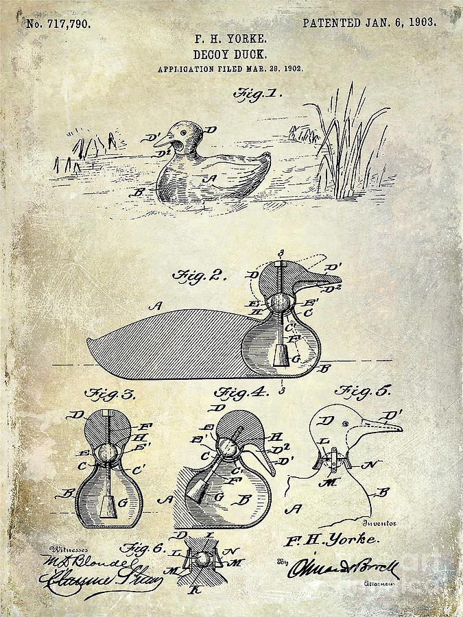 Duck Photograph - 1902 Duck Decoy Patent Drawing by Jon Neidert