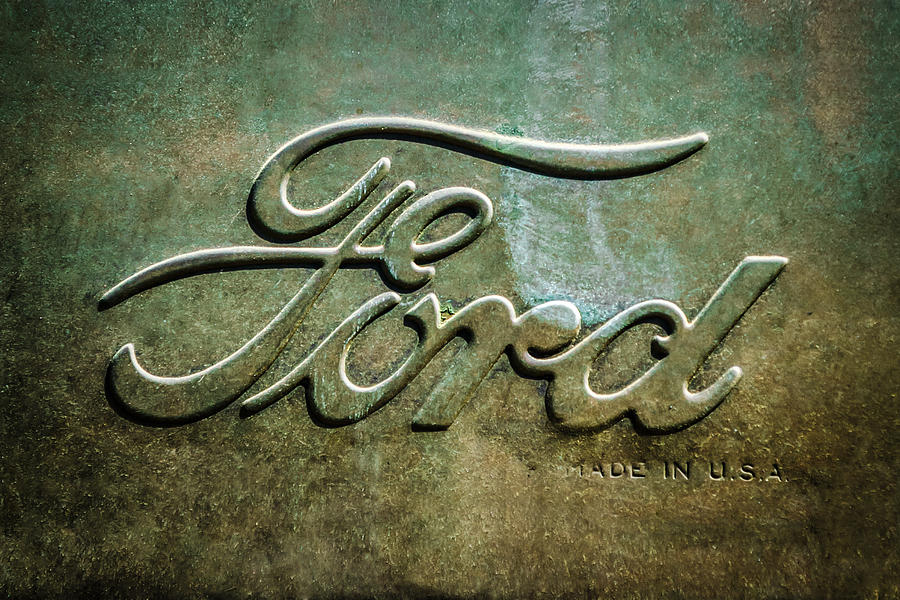 Classic Cars Photograph - 1912 Ford Hood Ornament - Emblem -0496bw by Jill Reger