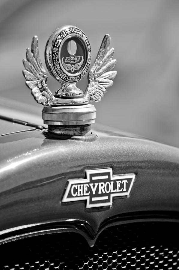Black And White Photograph - 1928 Chevrolet Stake Bed Pickup Hood Ornament by Jill Reger