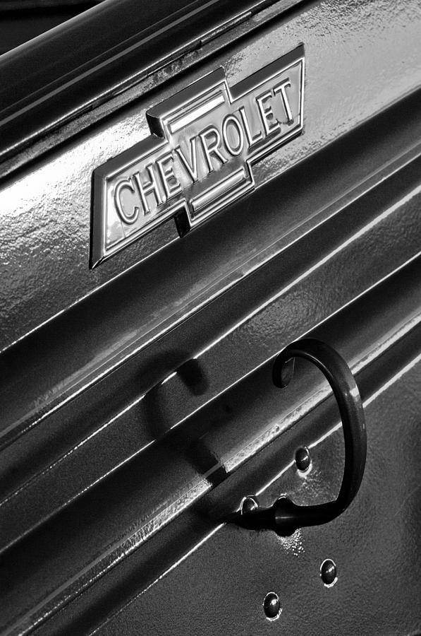 Black And White Photograph - 1937 Chevrolet Custom Pickup Emblem by Jill Reger