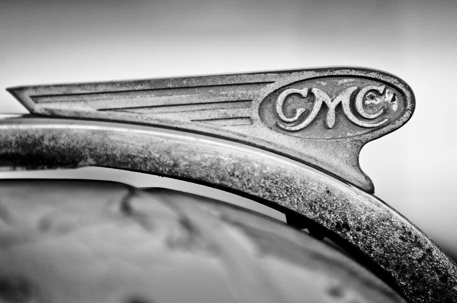Black And White Photograph - 1938 Gmc Hood Ornament by Jill Reger