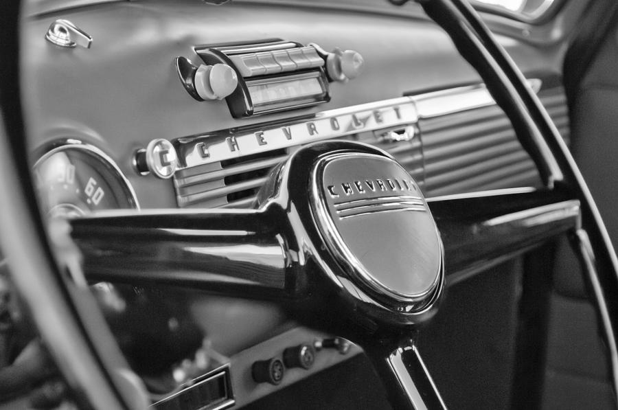 Black And White Photograph - 1950 Chevrolet 3100 Pickup Truck Steering Wheel by Jill Reger