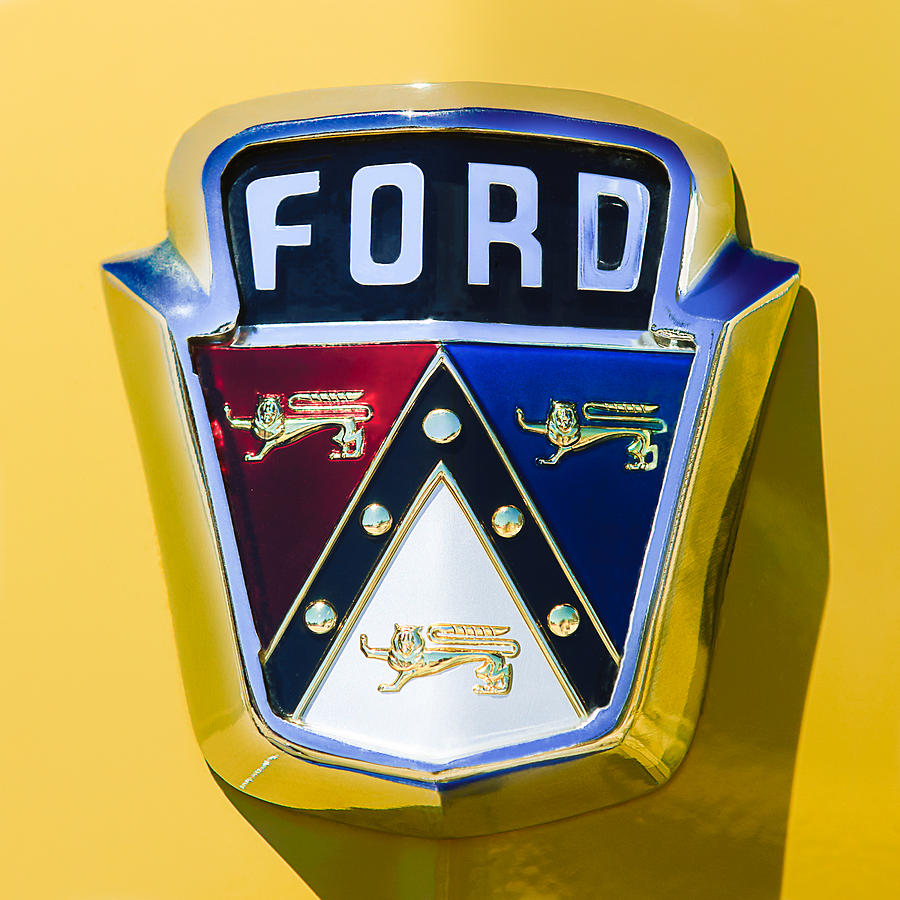Classic Ford Emblems Decals : Ford custom deluxe station wagon emblem photograph by
