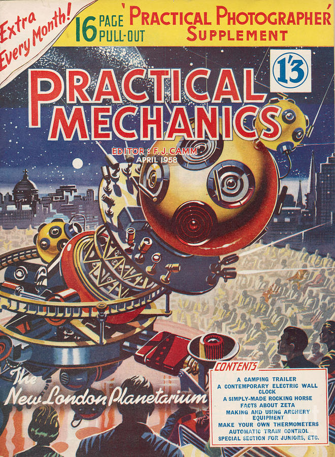 Magazine Cover Drawing - 1950s Uk Practical Mechanics Magazine by The Advertising Archives