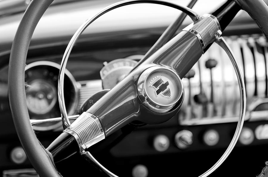 Black And White Photograph - 1951 Chevrolet Convertible Steering Wheel by Jill Reger