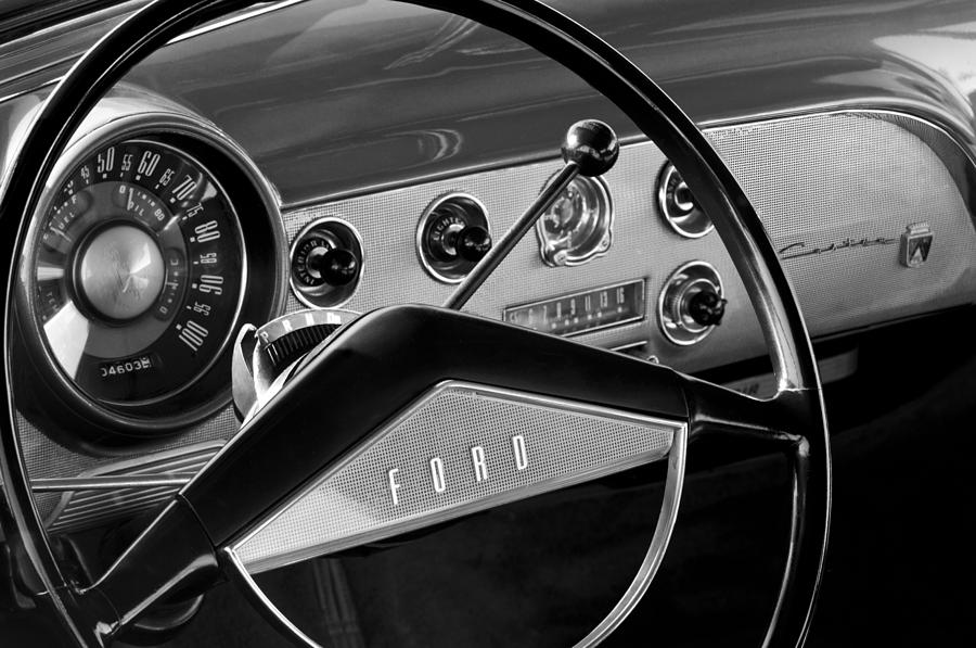 1951 Ford Crestliner Steering Wheel Photograph - 1951 Ford Crestliner Steering Wheel by Jill Reger