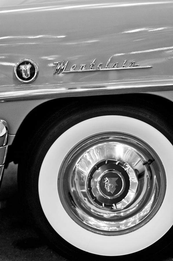 Black And White Photograph - 1951 Mercury Montclair Convertible Wheel Emblem by Jill Reger