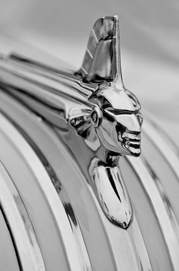Black And White Photograph - 1951 Pontiac Streamliner Hood Ornament by Jill Reger