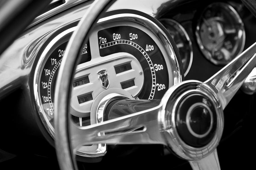 Black And White Photograph - 1953 Fiat 8v Ghia Supersonic Steering Wheel by Jill Reger
