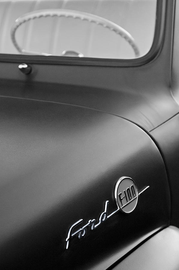 Black And White Photograph - 1953 Ford F-100 Pickup Truck Steering Wheel And Emblem by Jill Reger