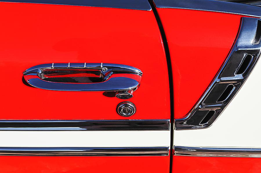 1956 Chevrolet Belair Convertible Custom V8 Door Handle Photograph - 1956 Chevrolet Belair Convertible Custom V8 Door Handle by Jill Reger