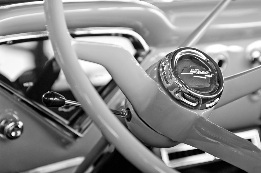 Black And White Photograph - 1957 Chevrolet Cameo Pickup Truck Steering Wheel Emblem by Jill Reger