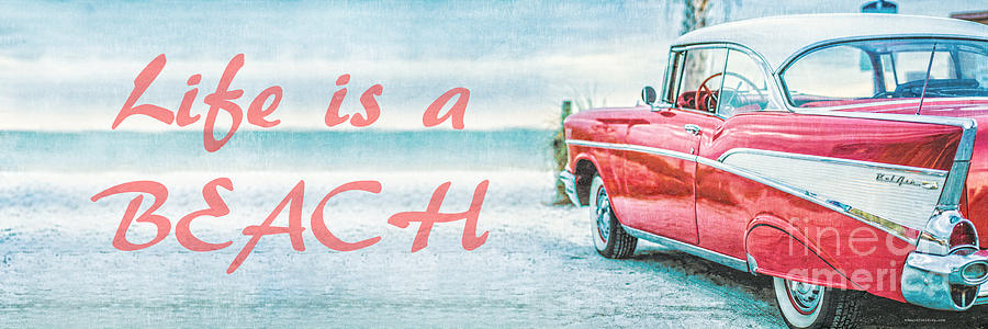 1957 Photograph - Life Is A Beach 57 Chevy by Edward Fielding