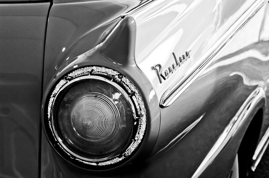 Black And White Photograph - 1957 Ford Ranchero Pickup Truck Taillight by Jill Reger