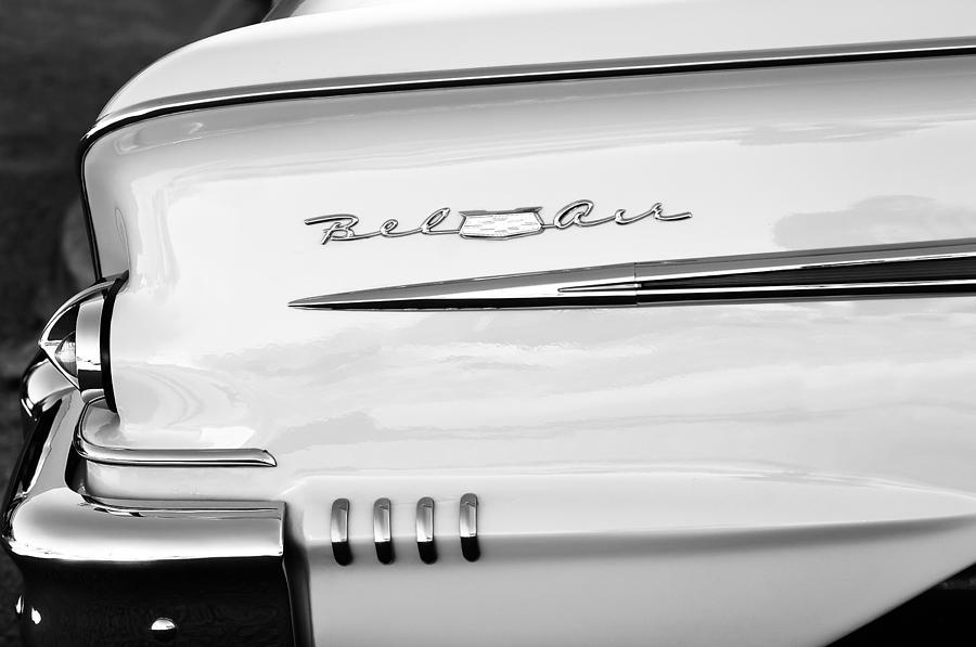 1958 Chevrolet Belair Tail Emblem Photograph By Jill Reger