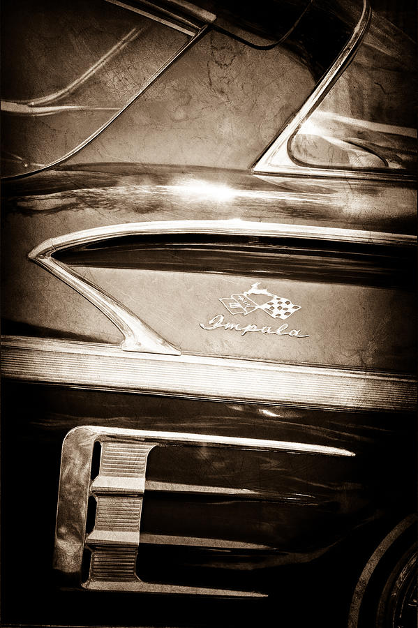 Old Cars Photograph - 1958 Chevrolet Impala Side Emblem by Jill Reger