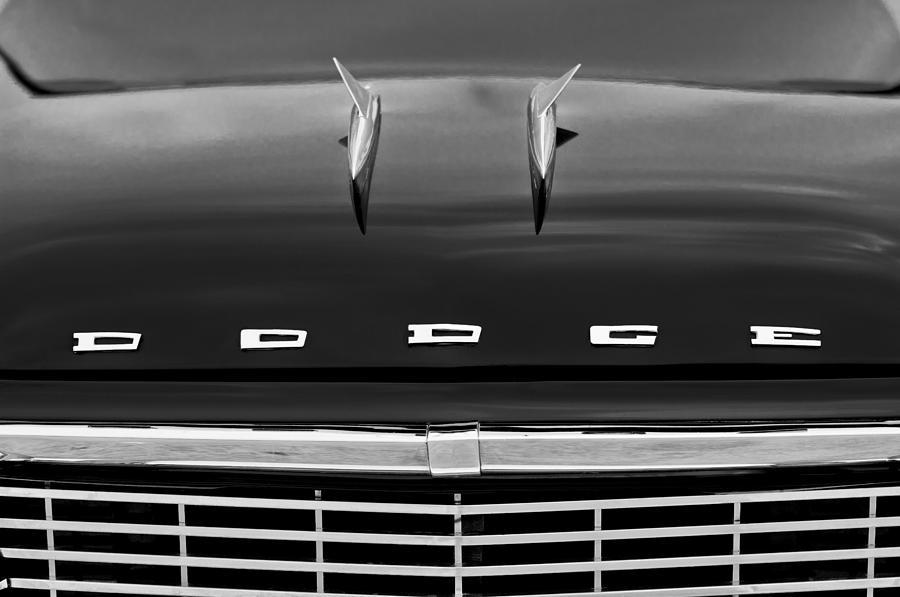 Black And White Photograph - 1958 Dodge Coronet Super D-500 Convertible Hood Ornament by Jill Reger